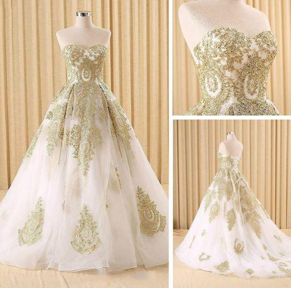 Ball Gown Wedding Dresses Sweetheart Sweep Brush Train Beautiful Bridal Gown JKW140
