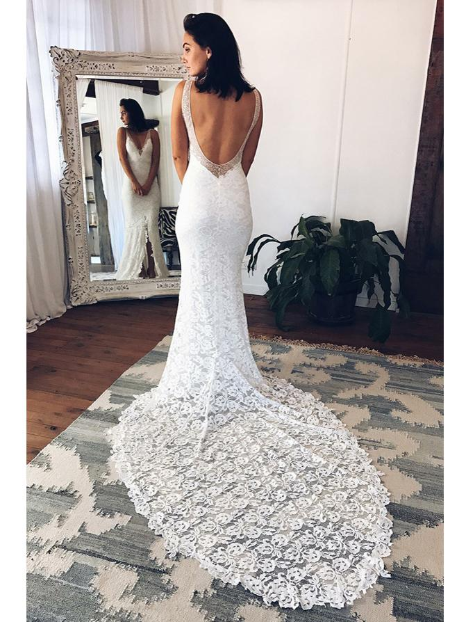 shirleydresses Beach Wedding Dresses V-neck Long Sexy White Lace Bridal Gown