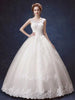 Ball Gown Wedding Dresses Scoop Lace-up Appliques Bowknot Big Bridal Gown JKW191