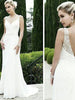 Beach Wedding Dresses with Straps V-neck Sexy Open Back Beading Bridal Gown JKW195