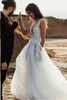 Beach Wedding Dresses Deeep V-neck A-line Hand-Made Flower with Slit Sexy Bridal Gown JKW288