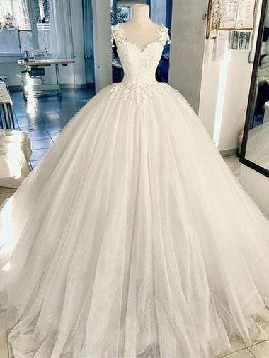 Ball Gown Wedding Dresses with Straps Romantic Long Train Ivory Big Bridal Gown JKW349