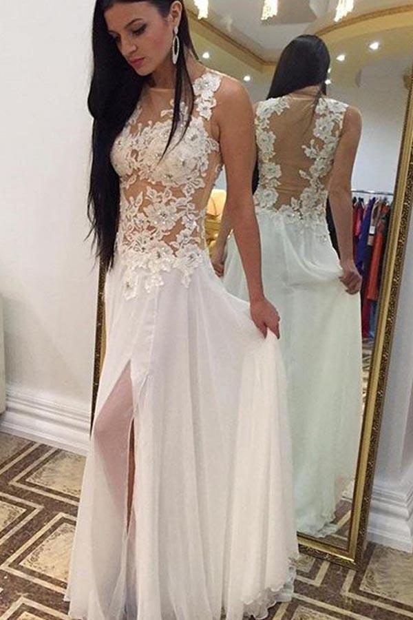 shirleydresses White Chiffon High Neck Beaded Floor Length Sleeveless Long cheap wedding dresses