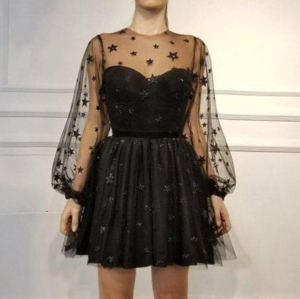 Unique Long Sleeve Short Sheer Neck Stars Mini Homecoming Dress, MH428