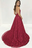 V-Neck Burgundy Deep Lace Sweep Train Backless Long Prom Gown, MP450
