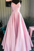 shirleydresses Spaghetti Straps Pink Satin Formal Dresses Pleated Bodice Simple Prom Dresses