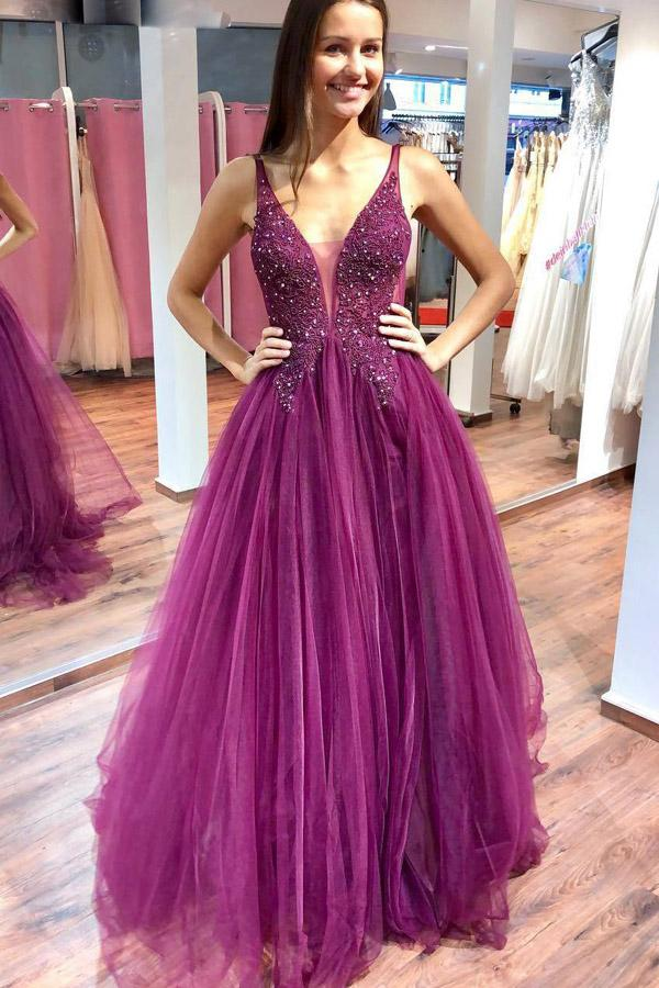 shirleydresses Sparkly V-neck Fuchsia Tulle & Lace Long Prom Dresses with Beaded, Elegant Evening Dresses