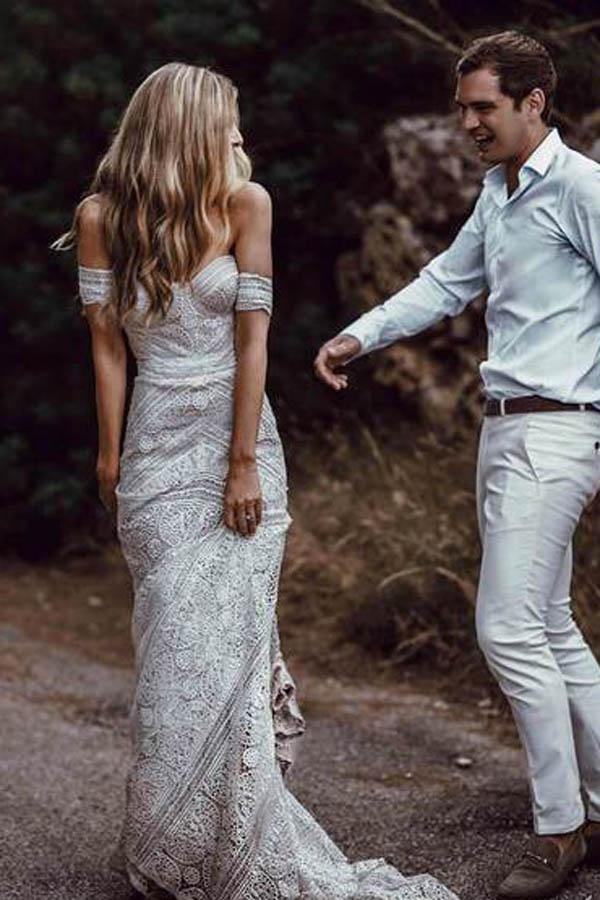 shirleydresses Sweetheart Neck Lace Beach Ivory Rustic Boho wedding dresses