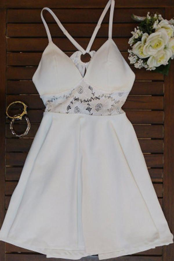 White Simple A-line V Neck Spaghetti Strap X Back Homecoming Dress, MH382