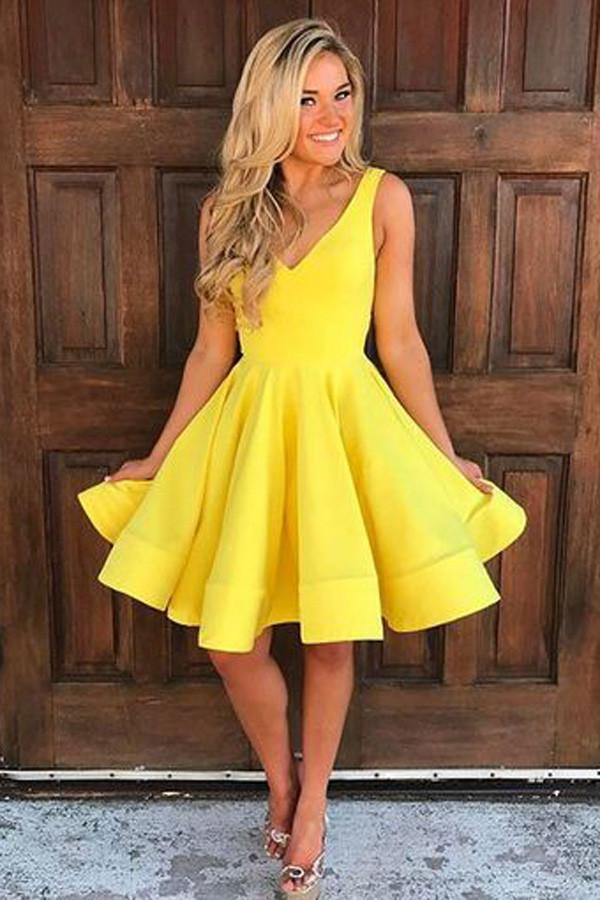 Simple Yellow A-line V Neck Sleeveless Short Homecoming Dresses, MH378