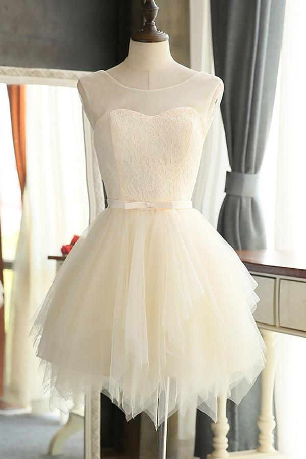 White Tulle Simple A-line Homecoming Dresses, Cocktail Graduation Dress, MH335