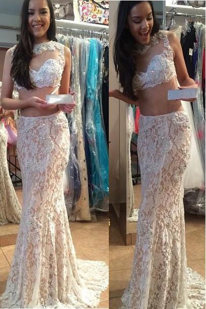 shirleydresses Two Piece Backless Lace Mermaid Long Prom Dress With Beading Evening Gowns