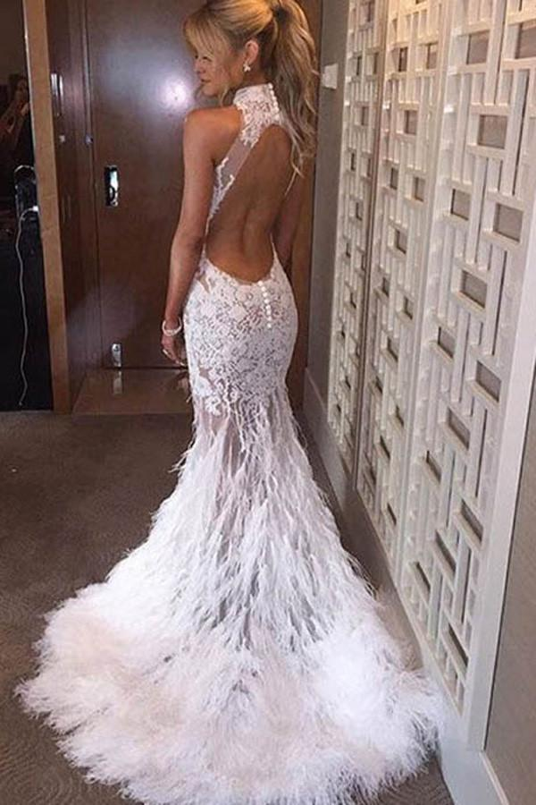 shirleydresses White Halter Mermaid Lace Sweep Train Prom Dresses With Feather