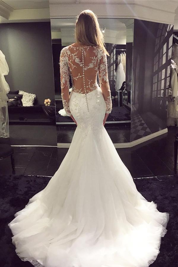 shirleydresses White Tulle Scoop Neck Long Sleeve Mermaid Sweep Train Lace Wedding Dresses
