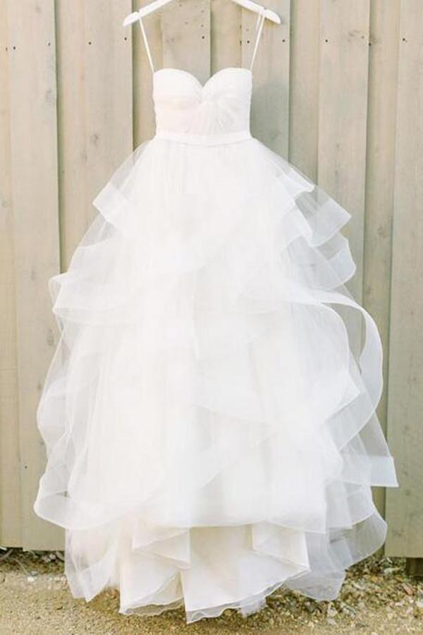 shirleydresses White Simple A-line wedding dresses Sweetheart Cheap wedding Dresses