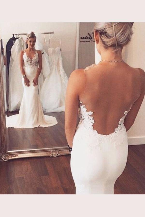 shirleydresses White Open Back  Trumpet Sweep Train  mermaid wedding dress