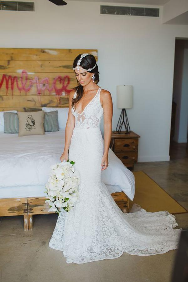 shirleydresses White Tulle Deep V Neck mermaid Wedding Dresses with Sweep Train and Appliques