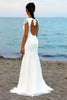 shirleydresses White Cap Sleeves Scoop Neck Open Back Lace Beach boho wedding dresses