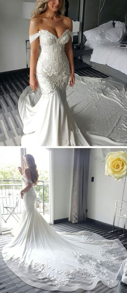 shirleydresses Sweetheart Off Shoulder Long Mermaid Wedding Dress with Sweep Train