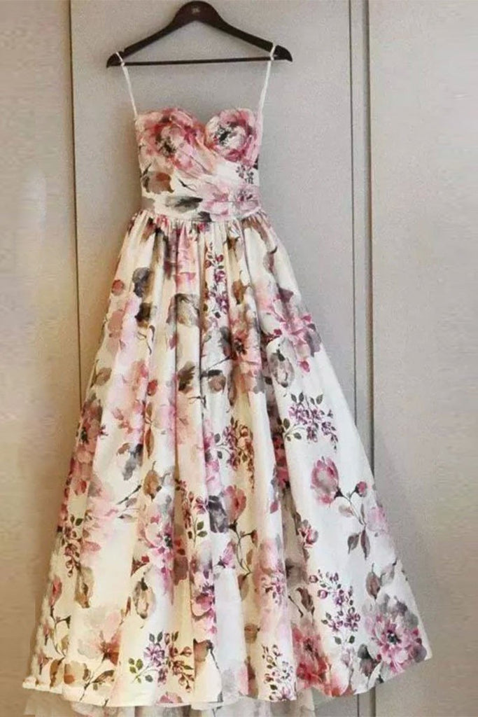 Simple Sweetheart Long Prom Dresses Floral Strapless Evening Dresses RS570