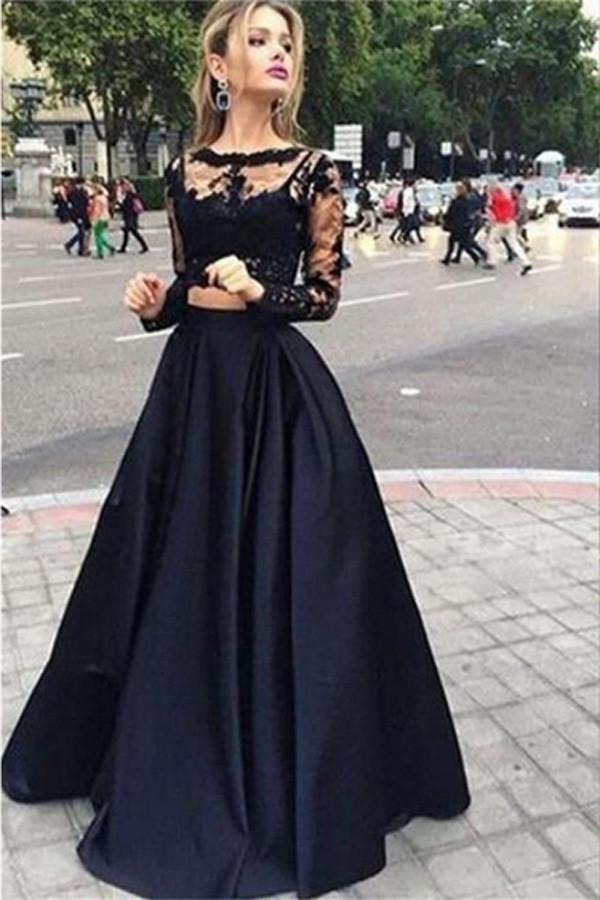 shirleydresses Two Piece Black Ball Gown Long Prom Dress, Long sleeves Evening Dress, Party Dresses