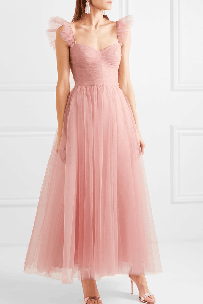 shirleydresses Blush Pink Prom Dress Ankle-Length Ruched Tulle Skirt