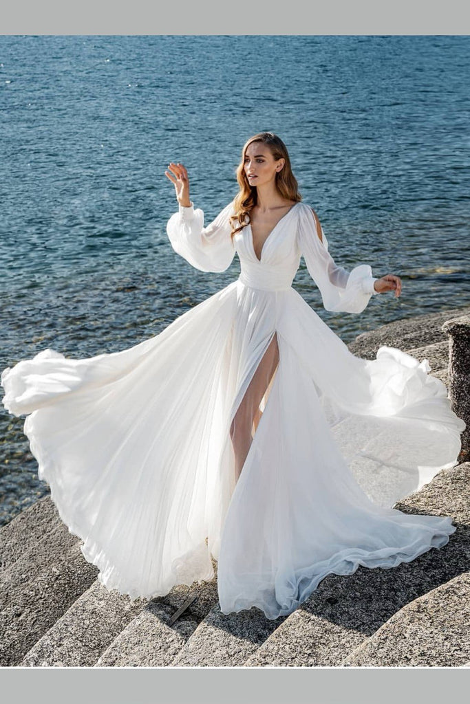 shirleydresses Boho Long Sleeves Wedding Dress for Seaside High Slit Side