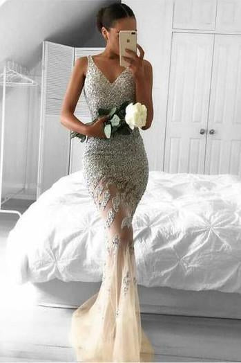 shirleydresses Tulle Beaded Long Mermaid V neck Lace Party Dresses, Long Prom Dress
