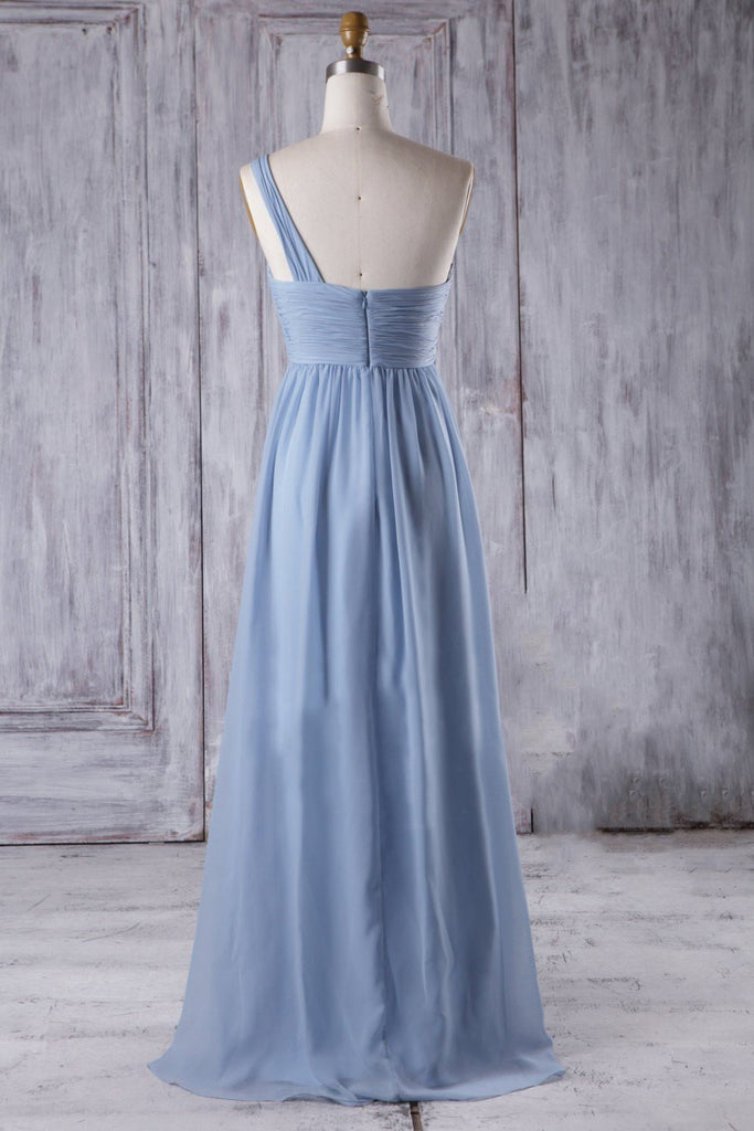 Chiffon Maternity Bridesmaid Gown with Ruched One-shoulder