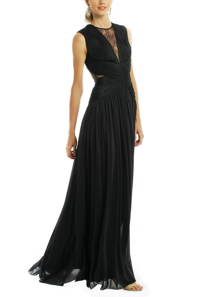 shirleydresses Dark Navy Chiffon Prom Dress with Round Neckline