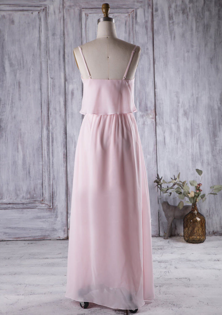 Floor-Length Pink Boho Bridesmaid Dress with Chiffon Skirt