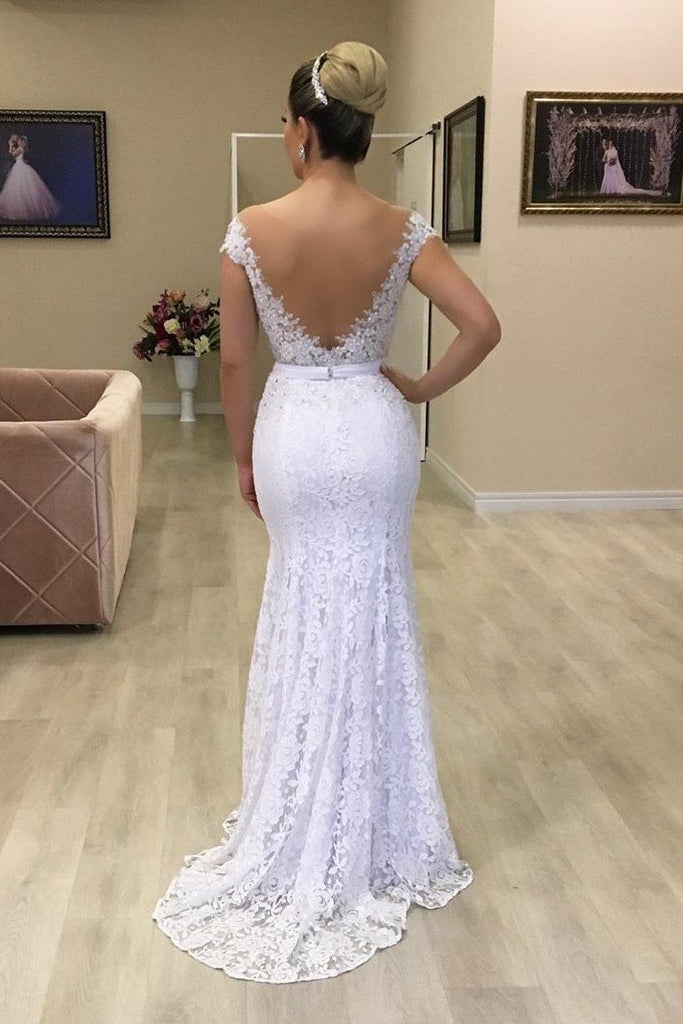 Lace Capped Sleeves Slim Wedding Gown with Sheer Back