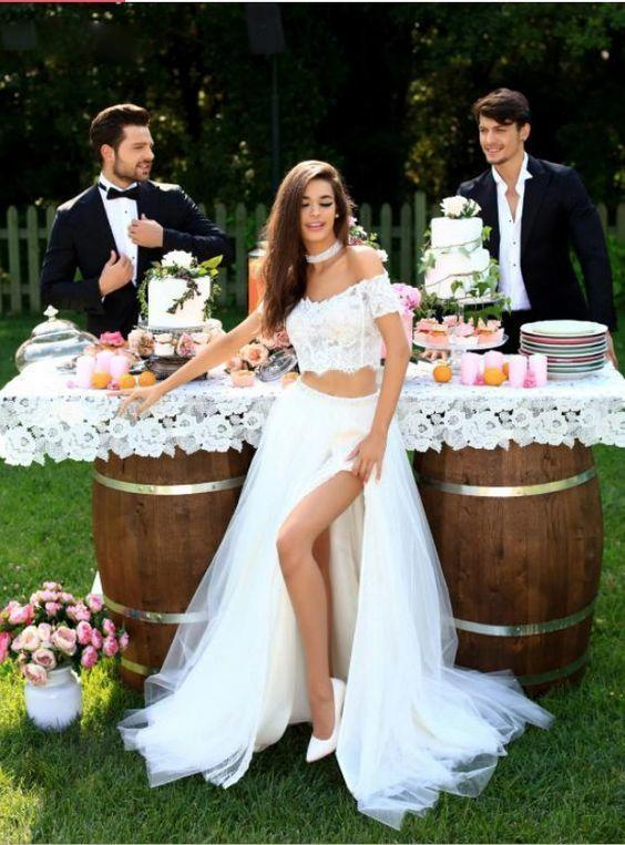 White Lace Two Piece Split Slit Tulle Wedding Dress, Sexy Wedding Gown, Bridal Dress