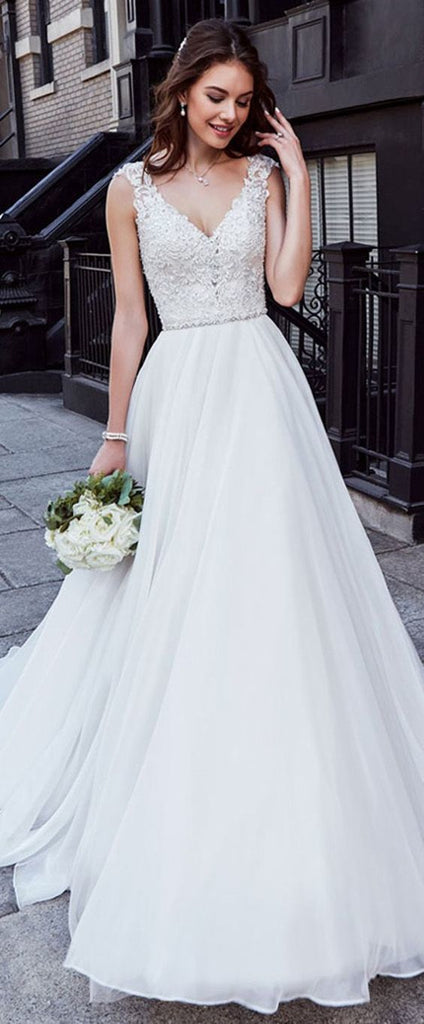 Elegant V neck Appliques White A Line Long Prom Dress/Wedding Dress