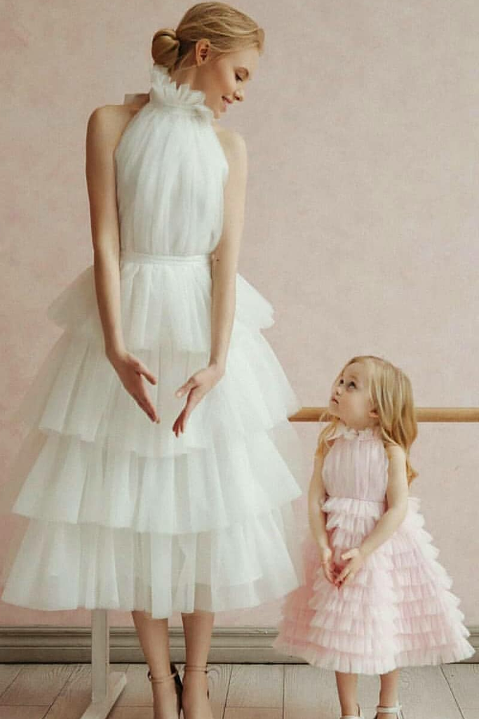 shirleydresses Ivory Tulle A-line Wedding Dresses with Tiered Skirt