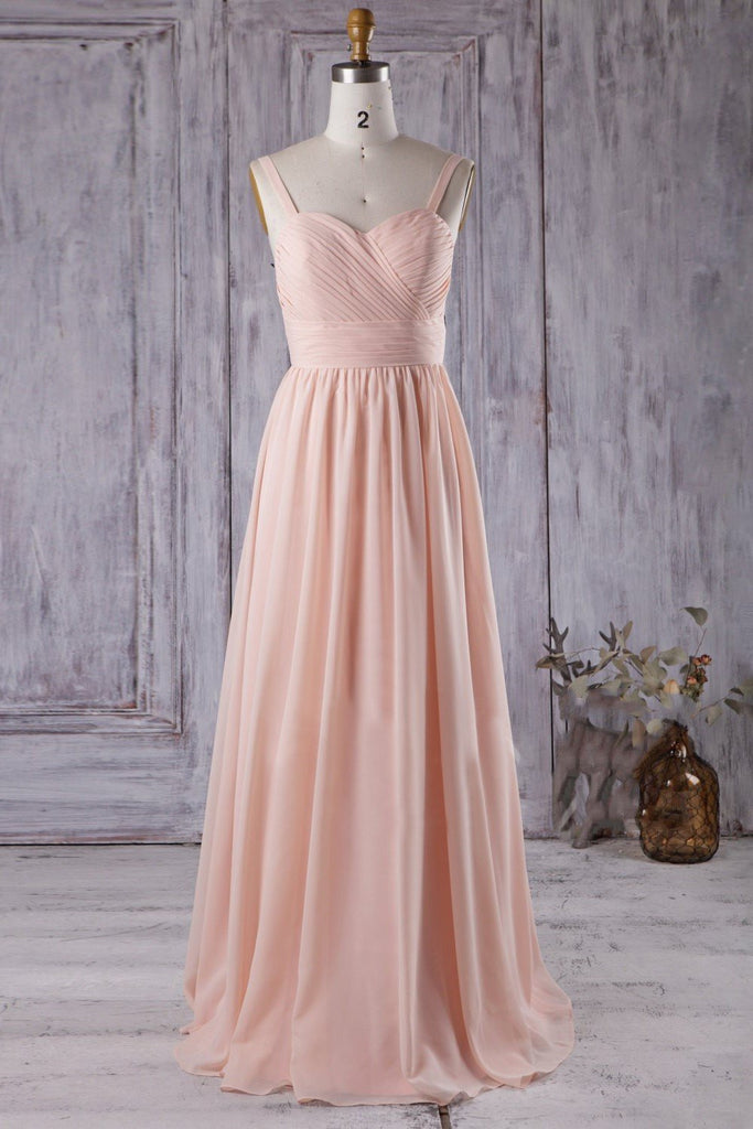 Modern A-line Blush Chiffon Wedding Guests Dress with Straps