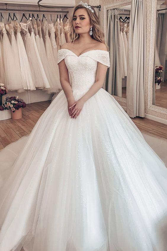 shirleydresses Princess Ivory Crystals Wedding Gown with Off-the-shoulder wedding dress