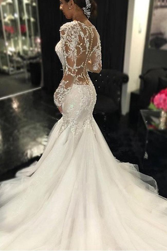 shirleydresses White Long Sleeve Lace See Through mermaid wedding dress Elegant Bridal Dresses