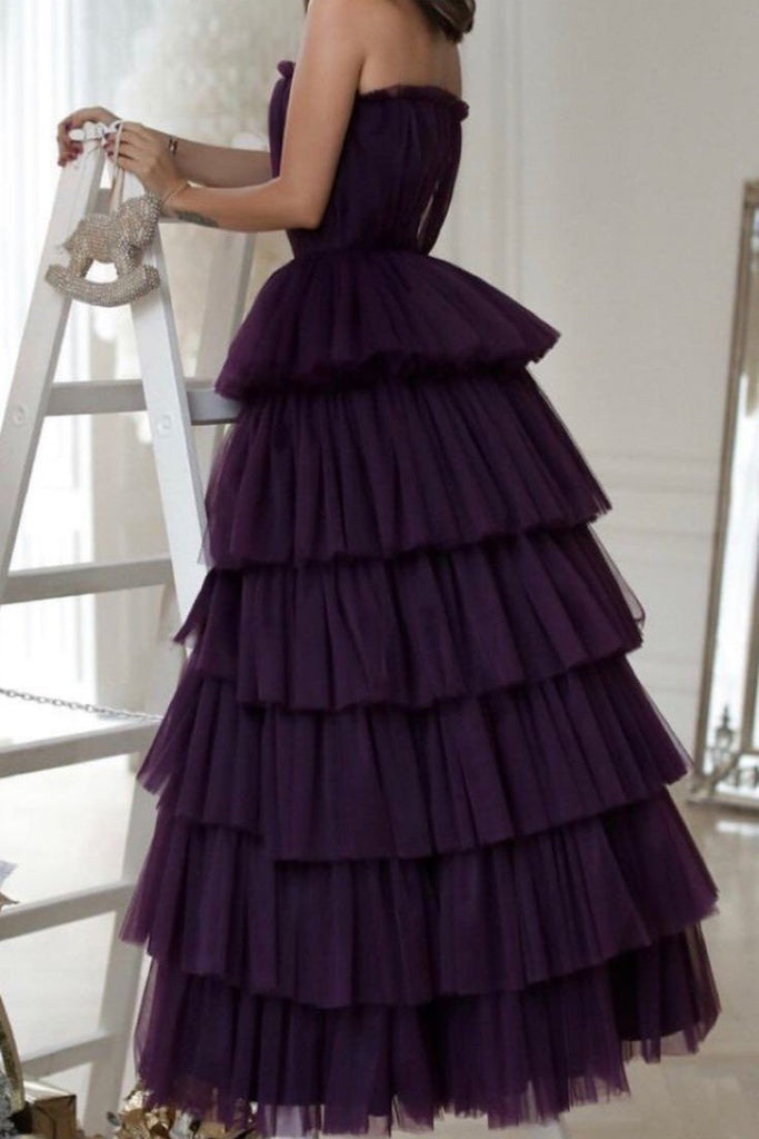 shirleydresses Tiered Skirt Dark Purple Prom Dresses with Strapless Ruching Bodice