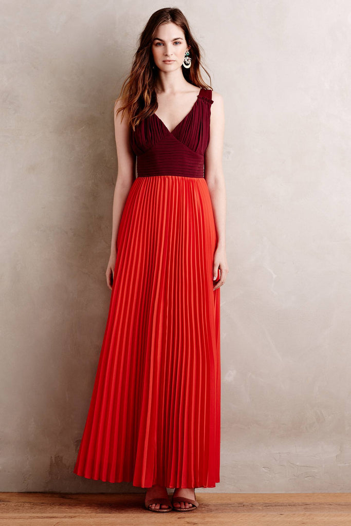 V-neck Two Tone Evening Gown with Pleated Chiffon Skirt