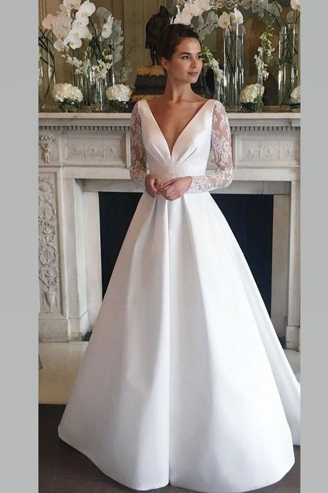 V-neckline Satin Wedding Gowns Bride with Sheer Lace Sleeves