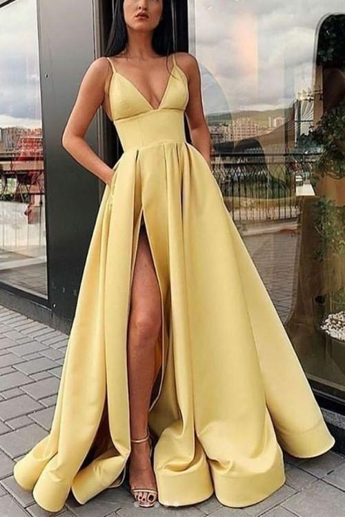 shirleydresses V-neckline Yellow Satin Long Prom Dresses with Pockets