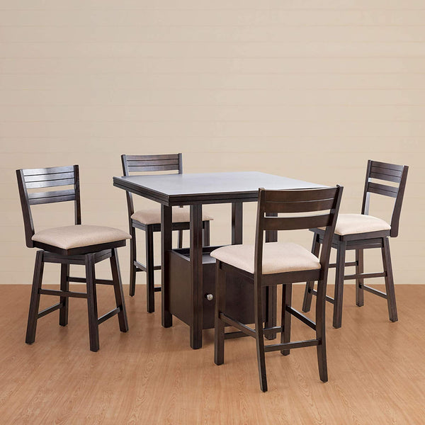 4 Seater High Dining Table Set with High Chair and Swivel Chair