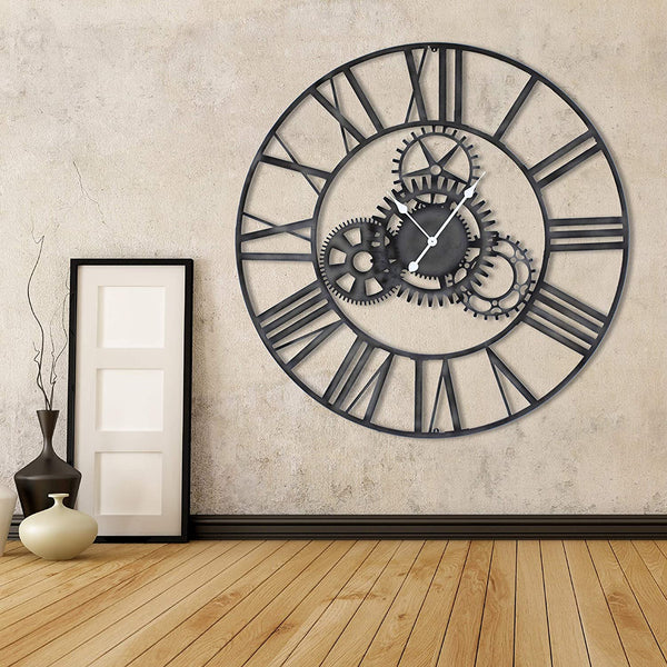 Craftter 60 inch Metal Wall Clock Roman Numericals and Gear Design Antique Grey Finish Extra Extra Large Live Metal Wall Clock