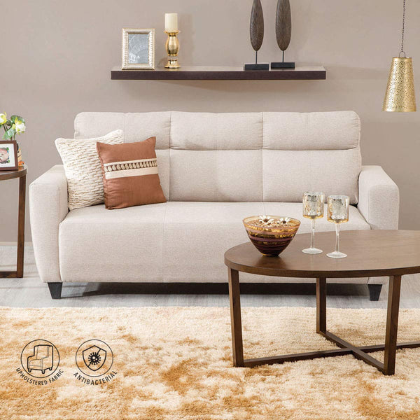 Home Centre 3 Seater Polyester Emily Fabric Sofa in Beige