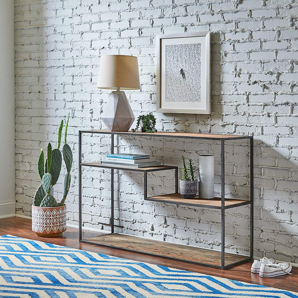 Iron Frame Solid Wood Console Table
