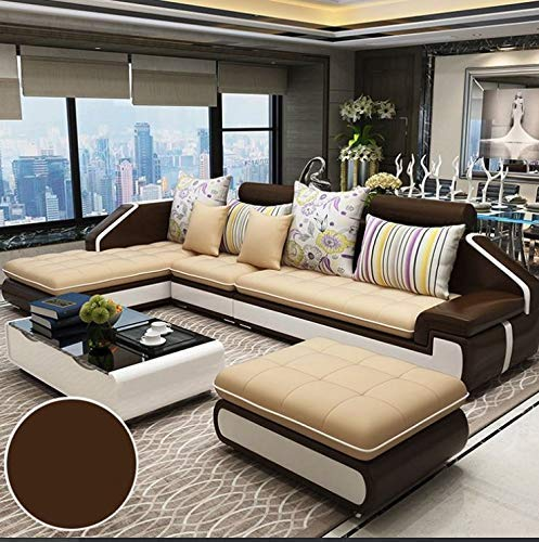Hardwood Sectional Leather Sofa Set with one Puffy