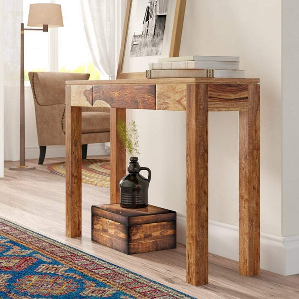 Two Tone Solid Sheesham Wood Varnished Console Table