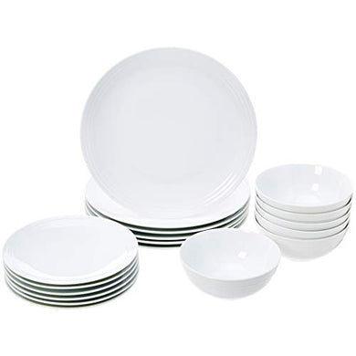 AmazonBasics 18-Piece Dinnerware Set - White Embossed Porcelain
