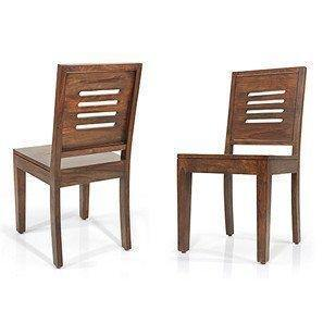 Strata Furniture Solid Sheesham Wood Dining/Balcony Chairs For Home And Office | Teak Finish | Set of 2 - Home Decor Lo